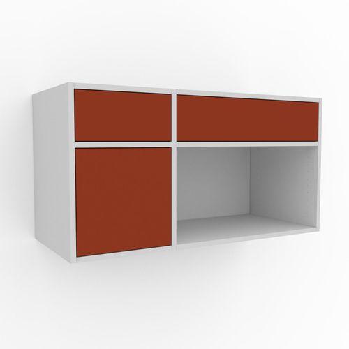Hängeschrank Terrakotta - Wandschrank: Schubladen in Terrakotta & Türen in Terrakotta - 116 x 61 x 47 cm, konfigurierbar