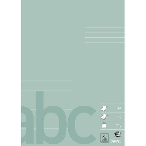 Bantex School Exercise Book A4 8 Lines Dust Green