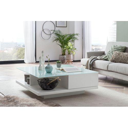 SalesFever Couchtisch, Tischplatte aus gehärtetem Kristallglas weiß Couchtisch Couchtische Tische Möbel sofort lieferbar