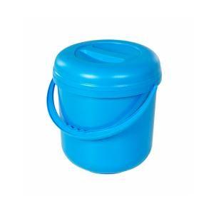 Bekaform Deckeleimer, 10 Liter, Runder Abfalleimer aus Kunststoff mit Deckel und Tragegriff, Farbe: blau