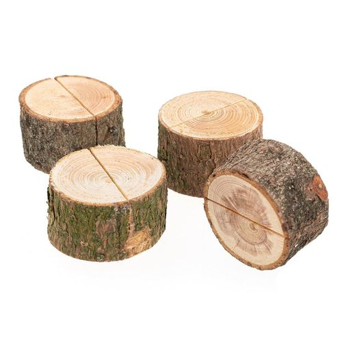 """Kartenhalter """"Holzstamm"""", 4cm x 2,5 cm, 4 Stück"""