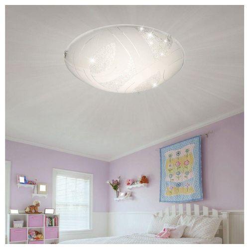 Globo Deckenleuchte, LED Deckenleuchte Glas Kristalle Wohnzimmer Kristallleuchte Decke Chrom Deckenlampe Modern rund, 1x LED 12W 656Lm warmweiß, 30 cm