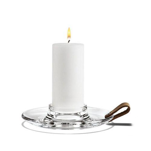 HOLMEGAARD Kerzenleuchter »Design With Light Kerzenhalter Ø17 cm aus Glas mit dekorativem Ledergriff; Blockkerzenleuchter«