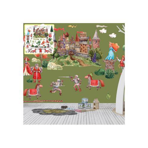 Sunnywall Wandtattoo »XXL Wandtattoo Ritter Ritterburg Set verschiedene Motive, Kinderzimmer Aufkleber bunt Wanddeko«