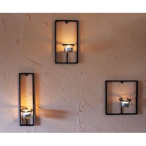 DanDiBo Wandkerzenhalter »Wandteelichthalter aus Metall Carre 3-tlg. Wandkerzenhalter Teelichthalter für die Wand Schwarz Teelicht Design Modern«