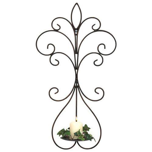 DanDiBo Wandkerzenhalter »Wandkerzenhalter Metall Antik Schwarz 12107 Kerzenhalter Wand 58 cm Schmiedeeisen Kerzenleuchter Einzel«