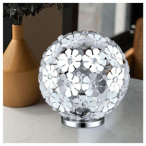 etc-shop Kugelleuchte, Tischlampe Kugelform Lampe Kugel Tischleuchte Nachtlicht Kugel, mit Blumen Dekor und klaren Kristallen, ALU Stahl, 1x E27, 25 cm