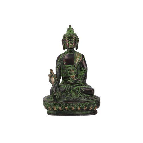 Guru-Shop Buddhafigur »Buddha Statue aus Messing Medizin Buddha 14 cm..«