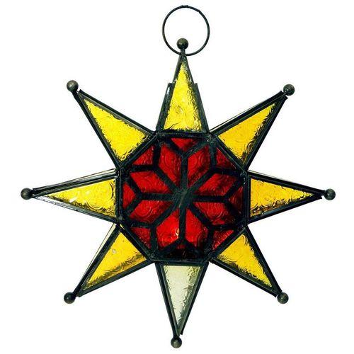 Guru-Shop Windlicht »Orientalische Glas Stern in marrokanischem..