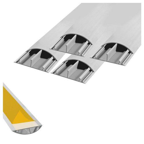 ARLI Kabelkanal »1m halbrund selbstklebend 50 x 12 mm grau Kabelbrücke Fussboden Boden oder TV Kabelkanal Wand (4er Pack) - 10393« (4-St)