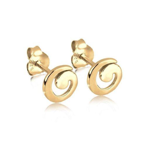 Elli Paar Ohrstecker »Spirale Geo Basic Verspielt 925 Silber«, Spirale, goldfarben