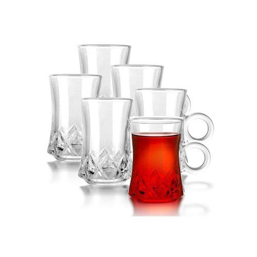 Fiora Teeglas »Teeglas mit Henkel Espresso Glas Türkische Teegläser für Warm und Kalt Getränke«, 6 teilig