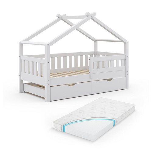 VitaliSpa® Kinderbett »Design 160x80 Babybett Hausbett Gästebett Matratze weiß«