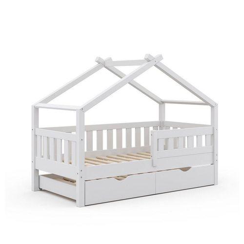 VitaliSpa® Kinderbett »Design 160x80 Babybett Hausbett Gästebett Lattenrost weiß«
