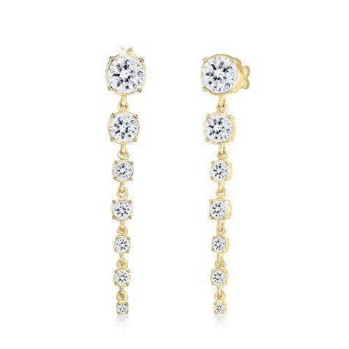 Elli Premium Paar Ohrhänger »Ohrhänger Kristalle 925 Silber«, Kristall Ohrhänger, weiß