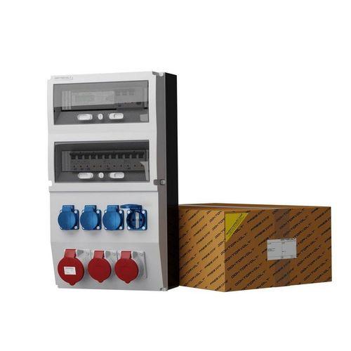 Doktorvolt »Stromverteiler eXT-S/FI 32A 2x16A 4x230V Stromzähler Wandverteiler« Steckdosenverteiler 7-fach (1x LSS C32A 10kA 3P, 2x LSS C16A 10kA 3P, 2 x LSS C16 1P 10kA, Fi-Schalter SEZ 63A 30mA 4P Typ A), ausgestattet mit Mennekes-Steckdosen
