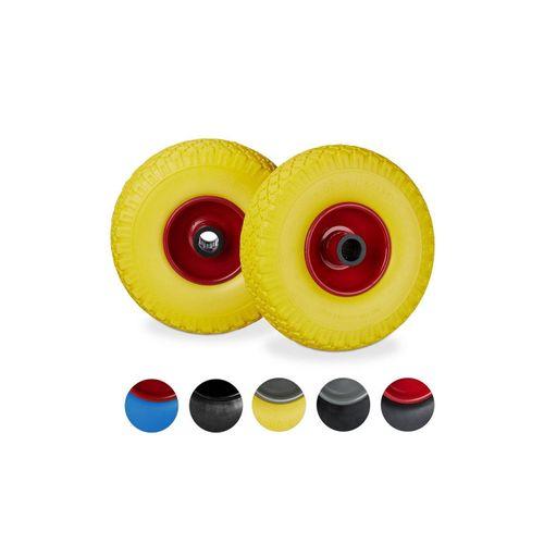 relaxdays Sackkarren-Rad »2 x Sackkarrenrad Vollgummi gelb-rot« (2er Set), pannensicher