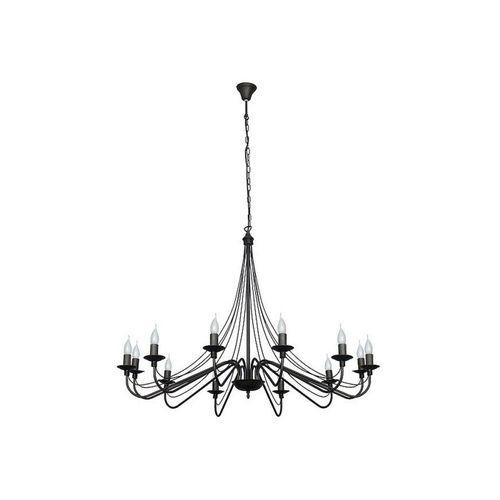 Licht-Erlebnisse Kronleuchter »ROSABELLA«, Schwarzer Kronleuchter Metall rustikal 12 flammig Esszimmer Lampe