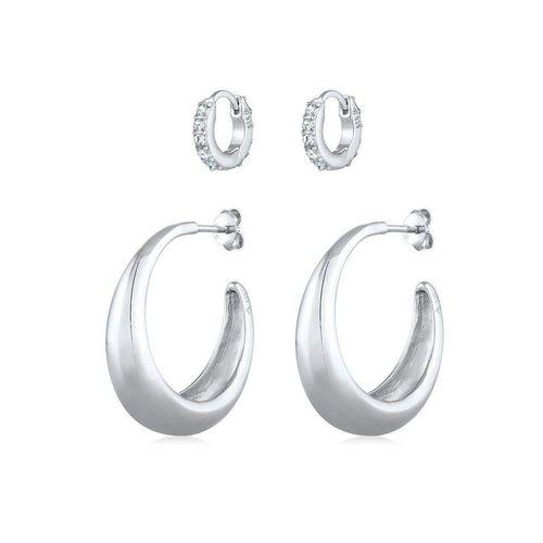 Elli Premium Ohrring-Set »Creolen Basic Mini Kristalle 2er Set 925 Silber