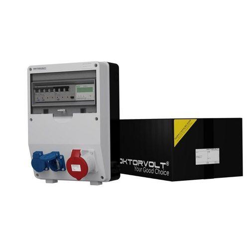 Doktorvolt »Stromverteiler TD-S/FI 32A 2x230V Drehstromzähler MID mit Mennekes Dosen« Steckdosenverteiler 3-fach (Fi-Schalter 40A 30mA 4P Typ A, 1 x LSS C32 3P 10kA, 1 x LSS C16 1P 10kA), ausgestattet mit Mennekes-Steckdosen