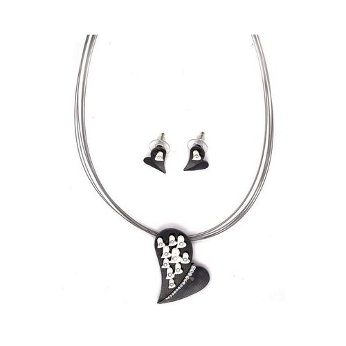 Mein Style Herzkette »Schmuckset Herz schwarz Kristall«, antiallergisch