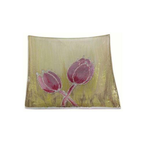 HTI-Living Dekoteller »Dekoteller Tulpe Rosa« (1 Stück), goldfarben