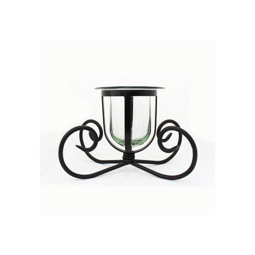 mitienda Windlicht »Windlicht, Kerzenhalter aus Glas und Eisen, Vase«