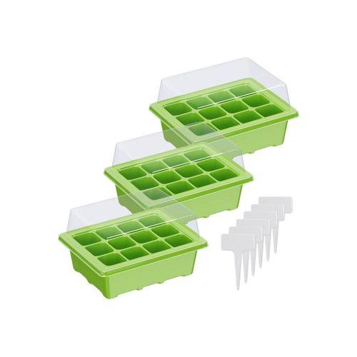 Wellgro Gewächshaus »Mini Gewächshaus - für bis zu 12 Pflanzen, ca. 19x14,5x11cm (LxBxH) je Zimmergewächshaus - Anzuchtschale, Saatschale, Pflanzen Anzucht«