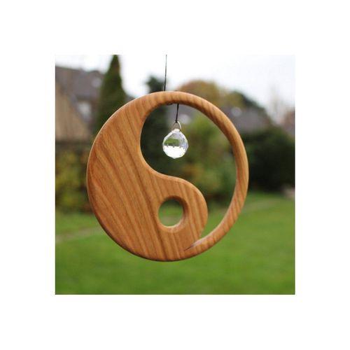 mitienda Fensterdekoration »Fensterdeko aus Holz Yin Yang mit Kristall«