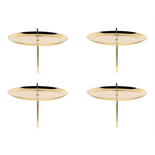 BigDean Kerzenständer »4er Set Kerzenteller mit Dorn − Gold glänzend − Für Adventskranz & Gestecke − Aus Metall − Teelichtstecker mit Spiess«