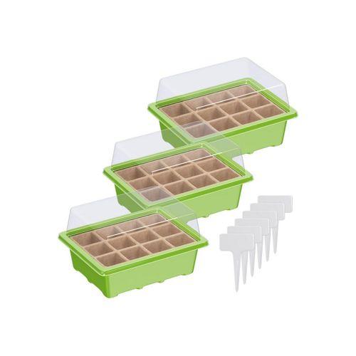 Wellgro Gewächshaus »Mini Gewächshaus - für bis zu 36 Pflanzen, ca. 19x14,5x11cm (LxBxH) je Zimmergewächshaus - Anzuchtschale, Zellulose, Saatschale, Pflanzen Anzucht«