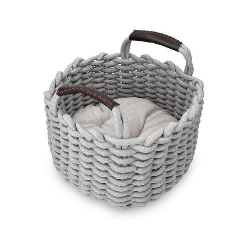 Navaris Tierkorb, Katzenkorb aus Stoff mit Kissen - Katzenbett Hundebett weich in Korboptik - Bett für Katzen und Hunde - Katzenkörbchen