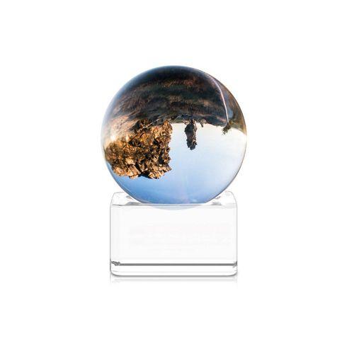 Navaris Dekoobjekt, Glaskugel Fotografie Kugel aus Glas - Fotokugel mit Ständer - Kristallkugel Klare Kristall Deko mit Glasständer - Ø 40mm
