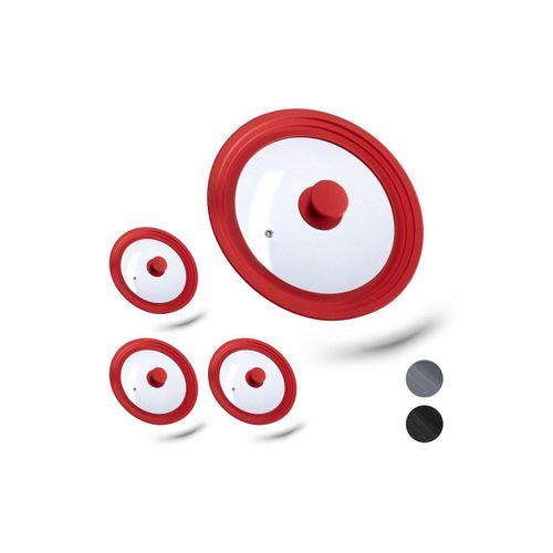 relaxdays Topfdeckel »4x Universal Topfdeckel 22-26 cm rot«