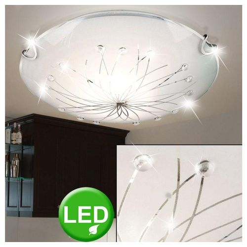 etc-shop Deckenleuchte, Decken Lampe Deko Kristall Steine Gäste Zimmer Leuchte im Set inklusive LED Leuchtmittel