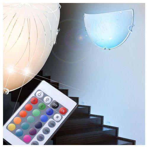 etc-shop Wandleuchte, Wand Leuchte Küchen Esszimmer Lampe Kristall Dekor Steine klar im Set inkl. RGB LED