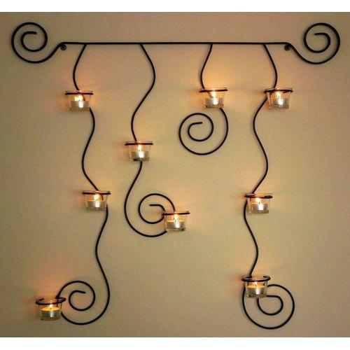 DanDiBo Teelichthalter »Wandteelichthalter Lysa Wandkerzenhalter Schwarz Metall 74 cm Teelichthalter Kerzenhalter«