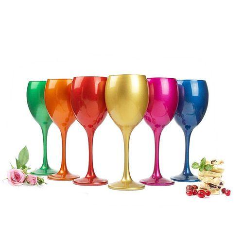 Sendez Rotweinglas »6 Mix Weingläser 300ml Metall-Optik Weinglas Rotweingläser Weißweinglas«