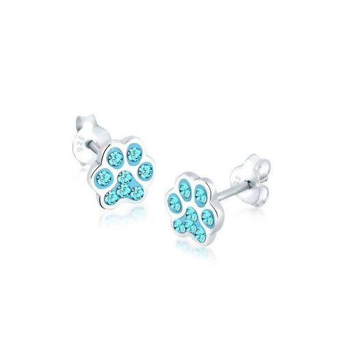 Elli Paar Ohrstecker »Pfote Katze Hund Kristalle 925 Silber«, Pfote, blau