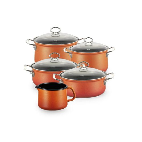 Riess Topf-Set »Topfset Familienset 5-teilig CORALL«, Emaille, (5-tlg), Topfset, orange