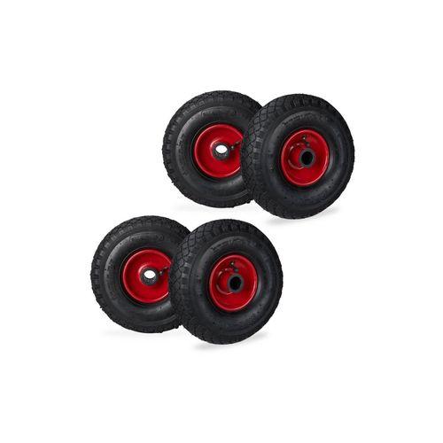 relaxdays Sackkarren-Rad »4 x Sackkarrenrad 3.00-4 schwarz-rot«