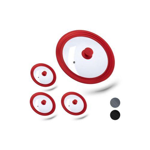 relaxdays Topfdeckel »4 x Topfdeckel 26-30 cm mit Silikon rot«