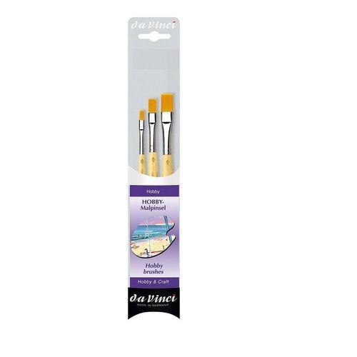 DaVinci Pinsel »Hobby Malpinsel 3er Set«, (3er Set), Hobbypinsel, Modellbau, Malen, Flachpinsel, Synthetikpinsel, braun