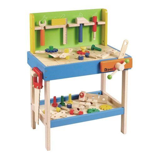 howa Werkbank, Kinderwerkbank aus Holz mit 45 tlg. Zubehör und 5 Werkzeugen