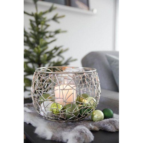 EDZARD Windlicht »Milano«, Kerzenhalter aus Messing mit Glaseinsatz, Kerzenleuchter für Stumpenkerzen, Höhe 19 cm, Ø 27 cm