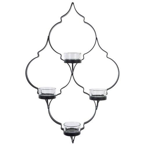 elbmöbel Wandkerzenhalter »Wandkerzenhalter mit 4 Teelichthaltern«, Wandkerzenhalter: 4 Teelichtgläser 27x39x10 cm metall schwarz oriental style