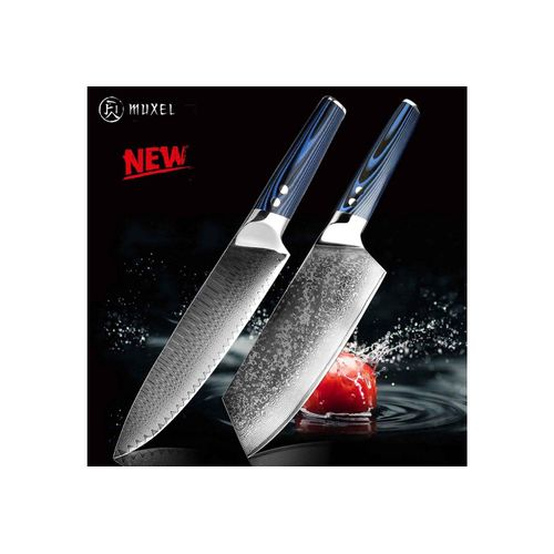 Muxel Messer-Set »The Blue Knife Das Blaue Messer-Set« (2 Messer Metzgermesser und Kochmesser, 2-tlg., Messer), extra scharf, silberfarben