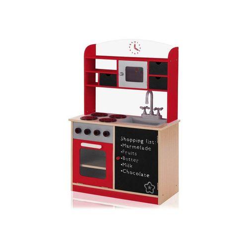 Baby Vivo Spielküche »Kinderküche Spielküche aus Holz mit Tafel - Mila in Rot«