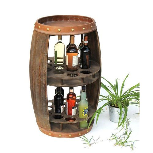 DanDiBo Weinregal »Weinregal Holz Weinfass Braun 83 cm 9045 Bar Flaschenregal Flaschenständer XL Fass Holzfass Weinschrank«
