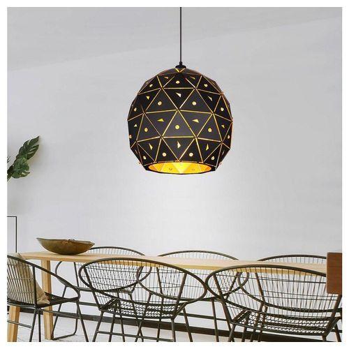 etc-shop LED-Hängeleuchte, Hängeleuchte Schirm innen gold rund K9 Kristalle schwarz matt klar